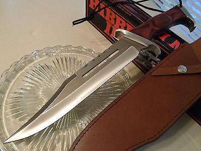 "Hibben III Huge Combat Bowie Hunter Knife GH201 16 1/2"" OA Leather Sheath Rambo"