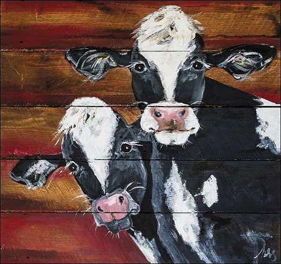 Molly Susan Strong Friends Keilrahmen-Bild Leinwand Kühe Paar Landhaus Bauernhof