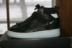 Mens Nike Air Force 1 Utility Mid Black Half Blue White Sz 8 5