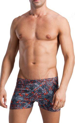Geronimo Mens Swimwear Floral Boxer Brief Trunks Swimming Wear Orange Grey