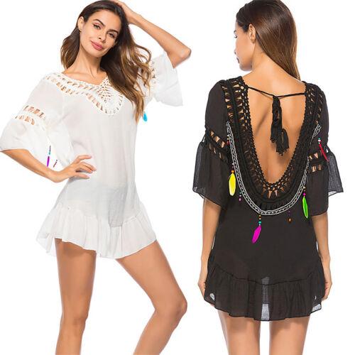 Womens Backless Summer Beach Lace Crochet Swimwear Bikini Cover Up Mini Dresses