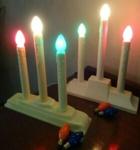2-Vintage-Electric-Plastic-Christmas-3-Candle-Lights-Candelabra-MCM-Kitsch