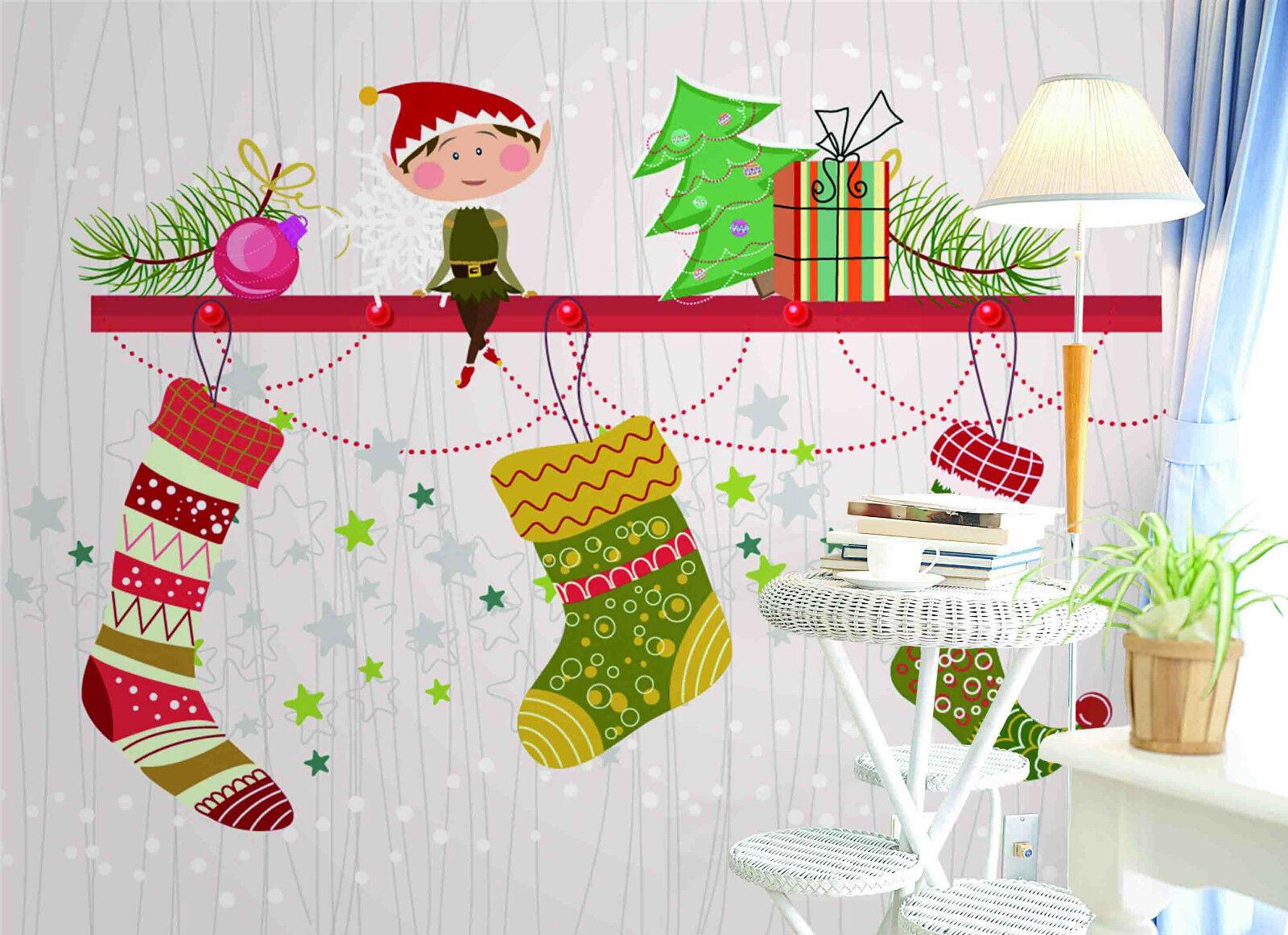 3D Weihnachtsstrümpfe Fototapeten Wandbild Bild Tapete Familie Kinder