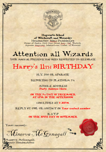 Details About Personalised Harry Potter Birthday Party Invitations