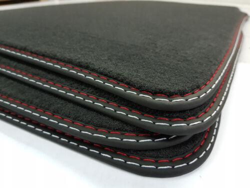 Fußmatten für NISSAN NOTE E11 Velours Original Qualität Doppelnaht rot-silber