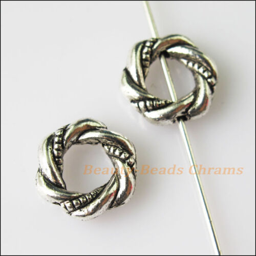 10Pcs Antiqued Silver Tone Round Circle Spacer Beads Frame Charms 11.5mm