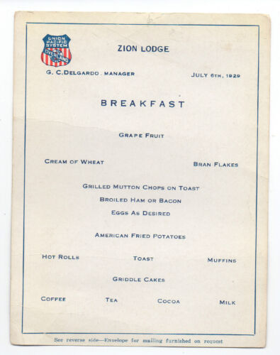 1929 Union Pacific Zion Lodge Breakfast Menu with Temple of Sinawava