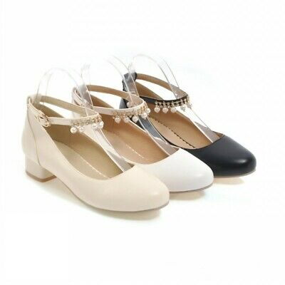 Details about  /41//42//43 Women Ankle Strap Chunky Low Heel Round Toe Comfy Date Cosplay Shoes D