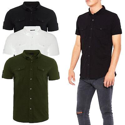Brave Soul Mens Roberts Roll Up Cuffs Short Sleeve Shirt Buttoned Cotton Jersey