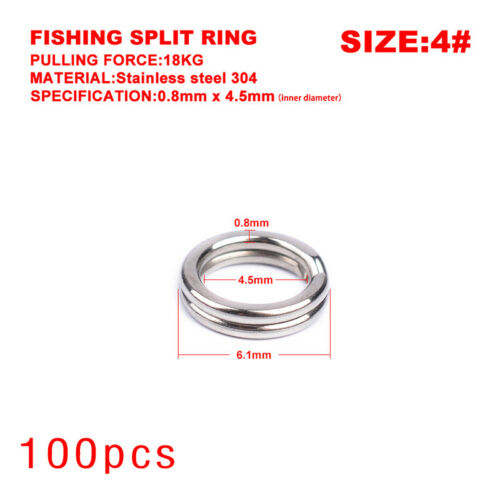 100pcs Fishing Double Loop Split Rings Stainless Steel Lure Bait Hooks Connector