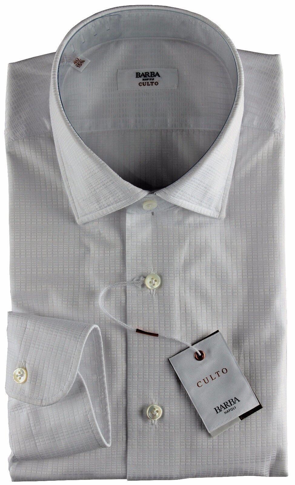 NWT BARBA NAPOLI DRESS SHIRT Culto Weiß geometric luxury handmade 40 15 3/4