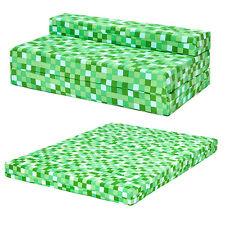 Green Pixels Kids Double Chair Bed Sofa Z Seat Foam Fold Out Guest Futon