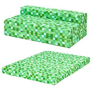 Green pixels kids double chair bed sofa z bed seat foam fold out guest futon ebay - Green pixel bedding ...