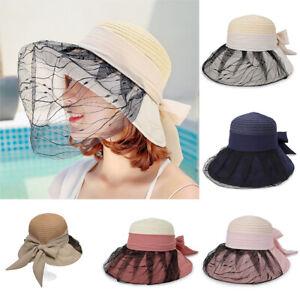 68acdcea363db Women Beach Straw Sun Hat Lace Veil Wide Brim Foldable Bucket Cloche ...