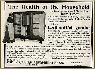 Hot Sale 1900 C Lorillard Refrigerator Photo Interior Housewife Opal Glass Liner Ad Catalogues Will Be Sent Upon Request Collectibles Merchandise & Memorabilia