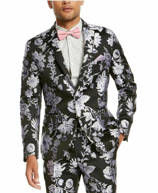INC Mens Blazer Black Size Large L Floral Metallic Two-Button Slim $149 #074