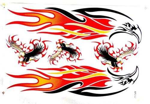 1bg Autocollant Sticker Tribal Eagle Aigle Arc = 26,5x17 5 cm