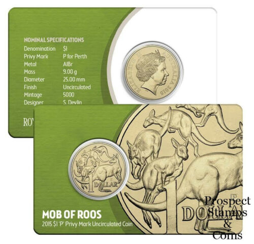 Ampelmann and /'P/' Perth 2015 MOB OF ROOS Privymark $1 Australian UNC Coins
