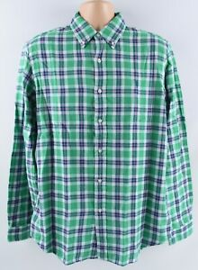 Polo-Ralph-Lauren-Hommes-Carreaux-Chemise-Classic-Fit-double-vert-multicolore-taille-L