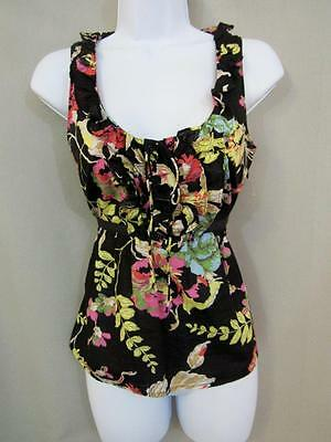 Anthropologie Edme And Esyllte Top Size 2 Cotton Black Floral Scoop New