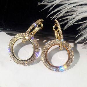 Women-Round-Crystal-Earrings-Hoop-Earrings-Geometric-Fashion-Jewelry