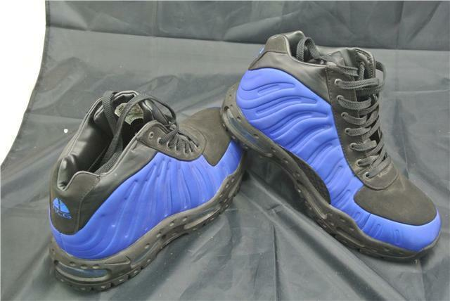 NIKE FOAMPOSITE BOOTS SIZE 10 UK SHOES ROYAL blueE BLACK SPECIAL EDITION RARE