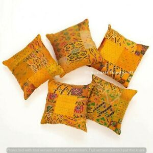 Set of 5 Yellow Silk Patola Patchwork Cushion Cover Home Decor Boho Pillow Cases
