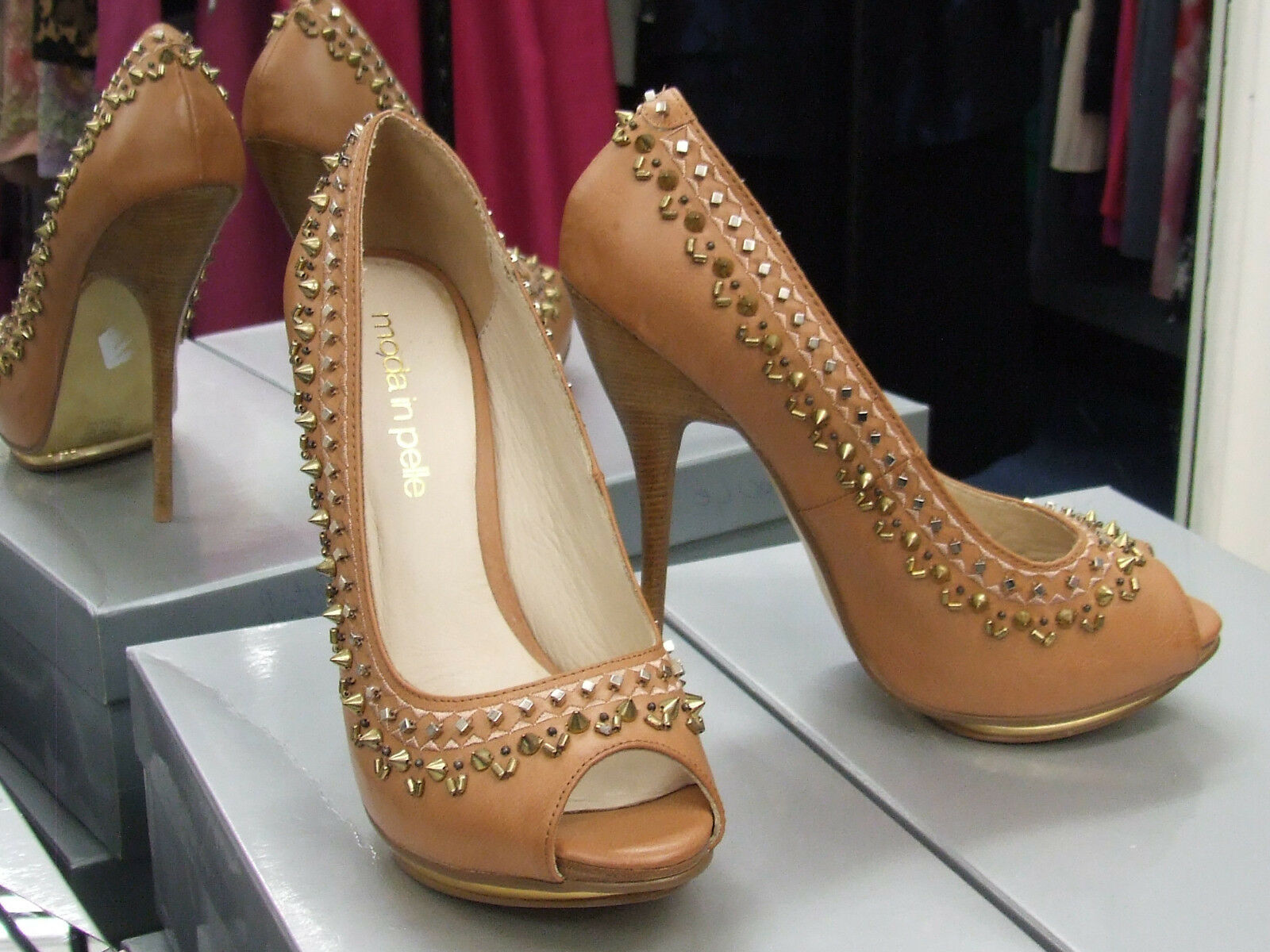 Moda In Pelle BNIB UK 5 Gorgeous High Gold Heel Tan Shoes wth Gold High Spikes+Studs EU 37 5c6eef