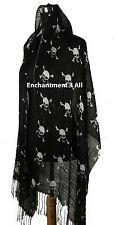"Large 60""x20"" Elegant Handmade Fashion Oblong Scarf Shawl Wrap w/ SKULLS, Black"