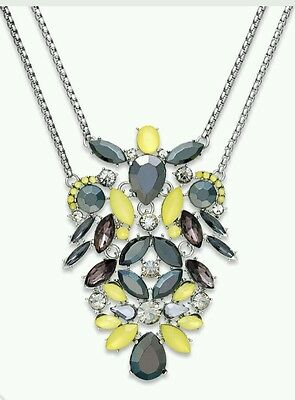 New! INC International Concepts Silver-Tone Yellow Stone Two-Row Pendant