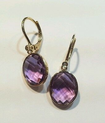 Curtis J Lewis close out 14k yellow gold amethyst bezel set lever back earring