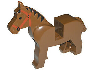 LEGO-Minifig-Animal-Horse-Black-Eyes-Red-Bridle-amp-Black-Mane-Brown