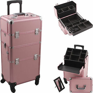 Professional Makeup Rolling Hair Stylist Case 4 Wheel 2 In