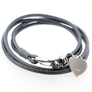 Womens Grey Black White Nappa Leather BRACELET + 925 Silver Heart ... f252bab736