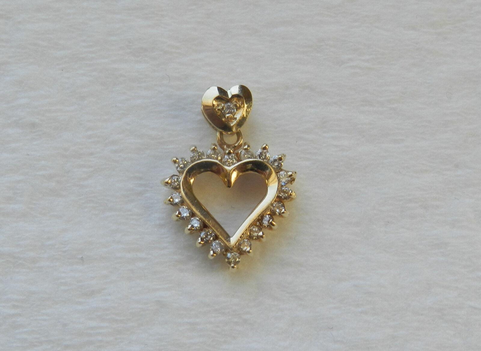 14k YG & Diamond Heart Pendant  21 1mm Diamonds     1.6 Grams