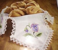 Nip Herrschners pansies Bread Cloth Stamped For Cross Stitch 16 X 16