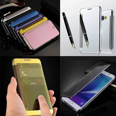 Luxury Mirror Clear View Window Flip Case Cover For Samsung Galaxy note phone