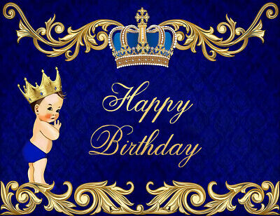 Royal Blue Prince Happy Birthday Backdrop Golden Crown Blue Curtain Background Decoration 7x5FT