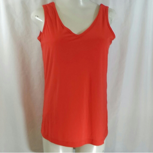 20f9e1fe901 TravelSmith V-neck Slimming Tank Top Cami - Size S - Red Orange Coral  Shaping