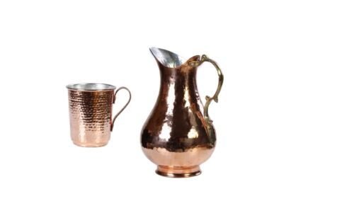Reines  Handgefertigter Kupferkrug und becher set,gehämmerter geschenkset