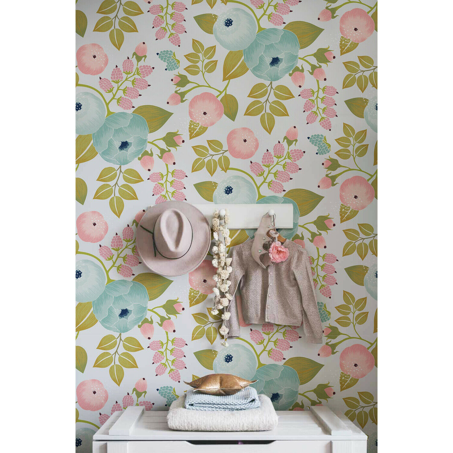 Removable wallpaper Spring Floral Floral WaterFarbe Self Adhesive Home Decor