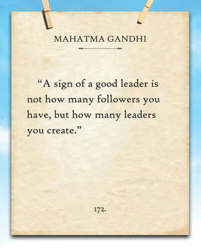 G 11x14 Unframed Typography Book Page Print A Sign Of A Good Leader Gandhi