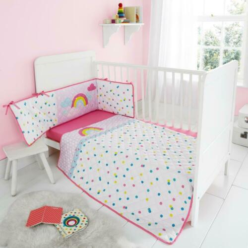LUXURY 3 PIECES NURSERY BABY COT BED BUMPER SET WITH FITTED SHEET COVERLET BUMPR