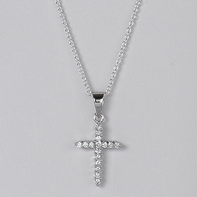 Sterling Silver CZ Cross Pendant Italian Design Charm Christian Solid 925  Italy 5f37ac703613