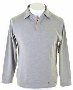 Calvin-Klein-Homme-Polo-Shirt-a-manches-longues-gris-moyen-coton-IB16