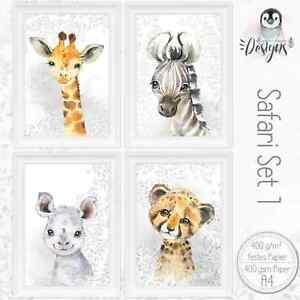 SAFARI-Kinderzimmer-Bilder-Giraffe-Baby-Poster-Tiere-A4-Druck-SET44-SAF1