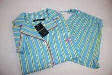 NWT RALPH LAUREN Medium Women's Short Sleeve Turquoise Striped Shorts Pajama Set