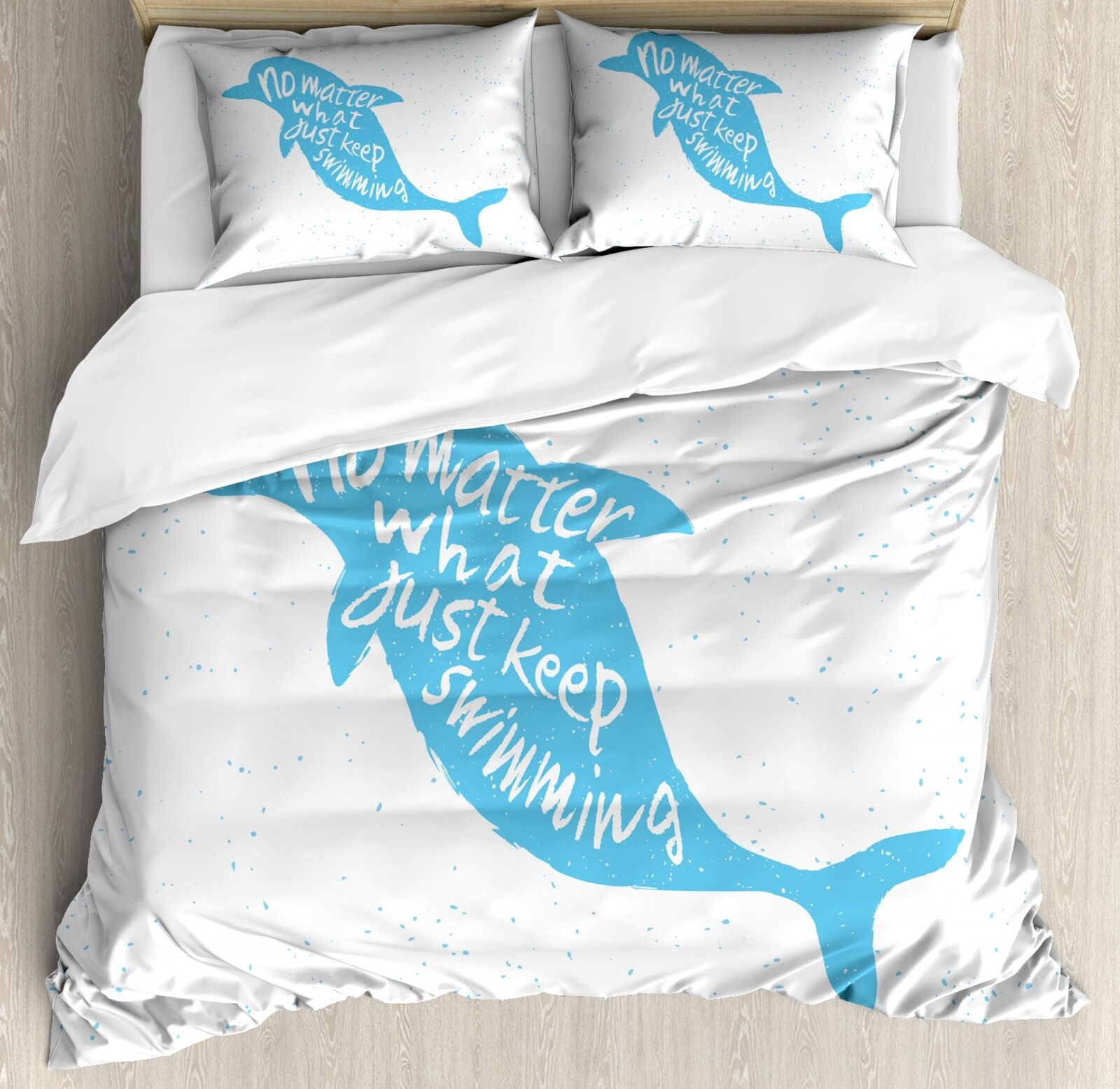 Dolphin Duvet Cover Set Twin Queen King Dimensiones with Pillow Shams Ambesonne