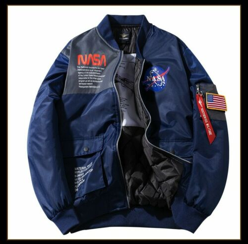 NASA Joint Pilot Stand-Collar Jacket Plus-sized COUPLE/'S Workwear