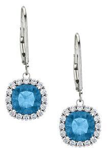 Sterling Silver 1.70 Carat 6mm Genuine Blue Topaz Leverback Halo Earrings